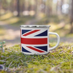 Enamel Mug with UK flag gift
